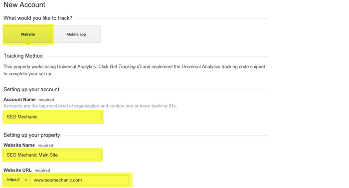 Adding Your Site to Google Analytics Step 4