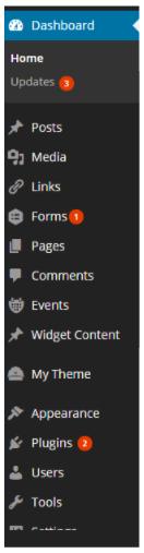 WordPress Dashboard Menu Bar