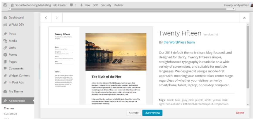 WordPress Theme Dashboard