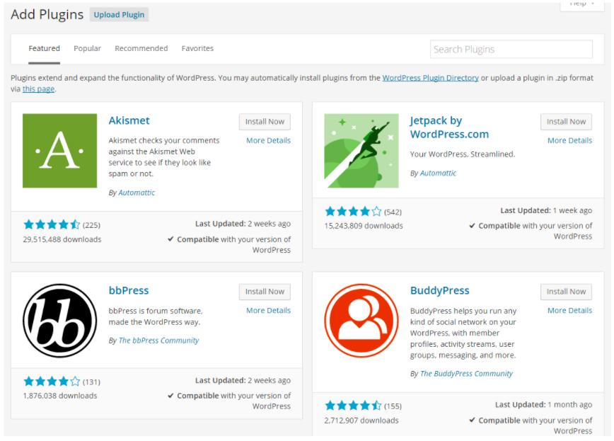 WordPress Plugins Page