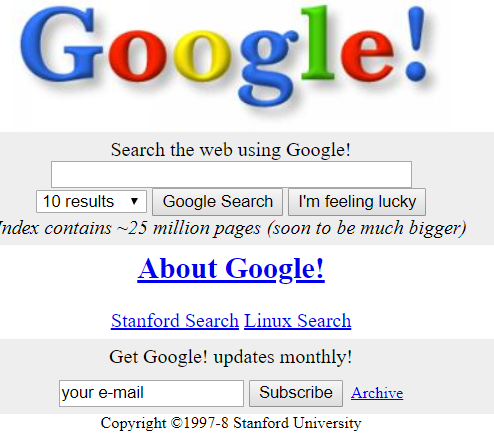Google 1998 Search Engine
