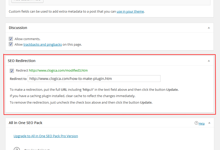 SEO Redirection WP Plugin Screenshot
